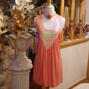 Peach Sequin Adorned Top by Rain